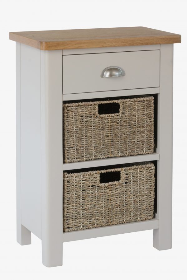 Salford Stone Painted Oak Small Console, Oak Console Table With Storage Baskets